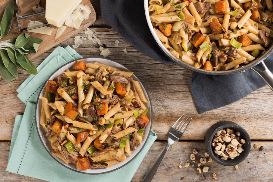 HEARTY GLUTEN FREE PENNE WITH BRAISED DUCK LEG