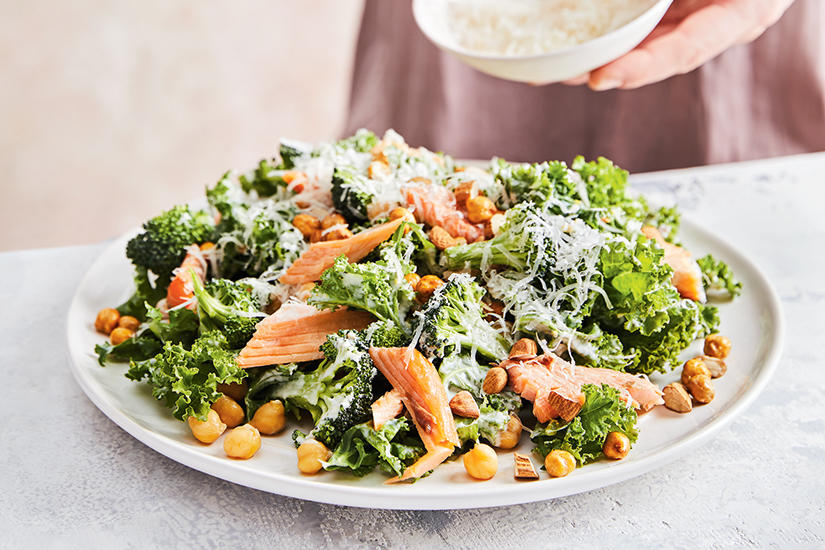 KALE BUTTERMILK CAESAR SALAD WITH SMOKED TROUT