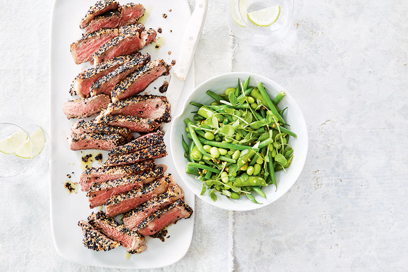 SESAME STEAK SALAD WITH SNAP PEA SALAD