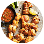 CHICKEN SKEWERS WITH PEANUT LIME DIPPING SAUCE