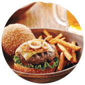 ELK BURGERS WITH CARAMELIZED ONIONS