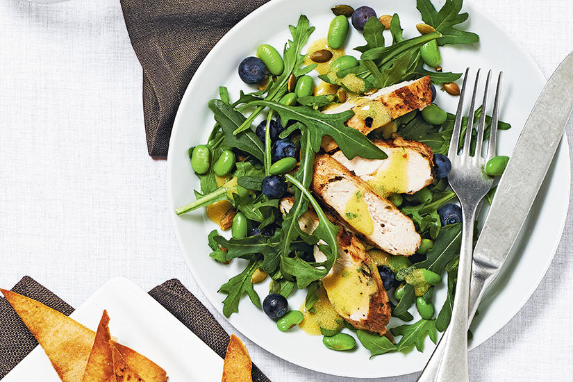 Edamame and blueberry salad with herbed chicken