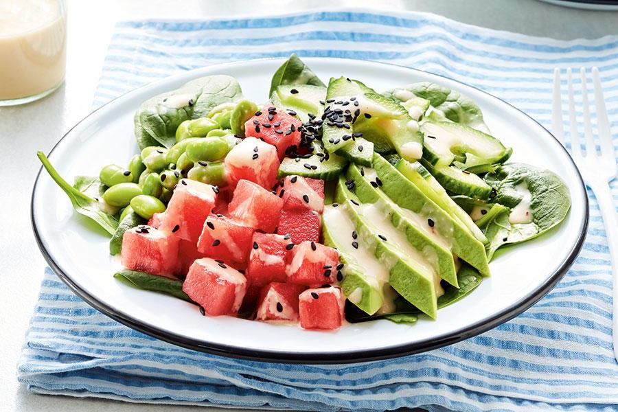 Vegetarian watermelon poke bowl