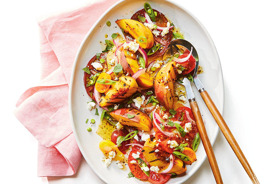 Grilled peach and tomato salad