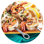 HERB AND GARLIC SEAFOOD SKEWERS