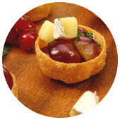 WALNUT, BRIE AND GRAPE SALSA TARTLETS