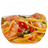 LINGUINE WITH SHRIMP AND ASPARAGUS AND CHERRY TOMATOES