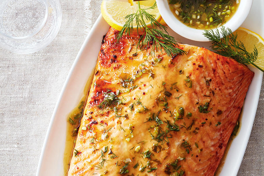 SALMON WITH MAPLE MUSTARD GLAZE
