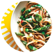 SPRING PRIMAVERA PASTA WITH GOAT CHEESE