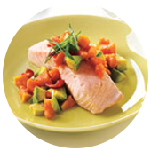 POACHED SALMON WITH PAPAYA AVOCADO SALSA