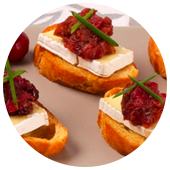 BRIE OR CAMEMBERT CANAPES WITH CRANBERRY PEAR CHUTNEY