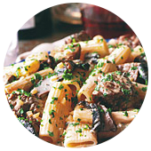 RIGATONI WITH SIRLOIN AND GORGONZOLA SAUCE