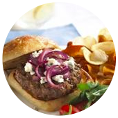 SMOKEY SIRLOIN BURGERS WITH BLUE CHEESE