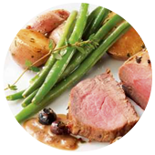 VENISON MEDALLIONS IN A BALSAMIC VINEGAR AND MAPLE SYRUP REDUCTION