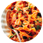 FARFALLE WITH PROSCIUTTO AND OLIVES