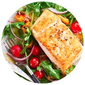 BUTTERY HALIBUT WITH BALSAMIC CHERRY TOMATOES AND ARUGULA SALAD