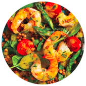 WARM LENTIL SALAD WITH SHRIMP